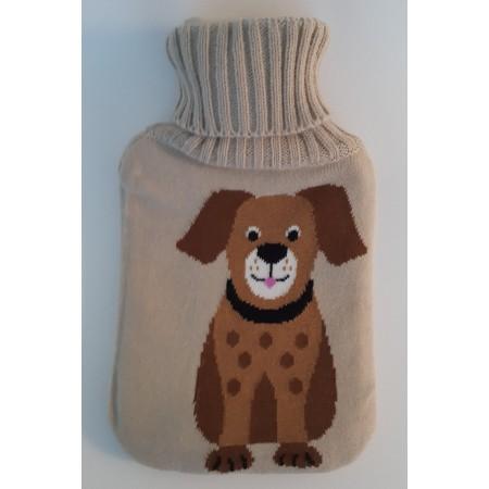 Bouillotte 2 litres avec housse tricotée chien
